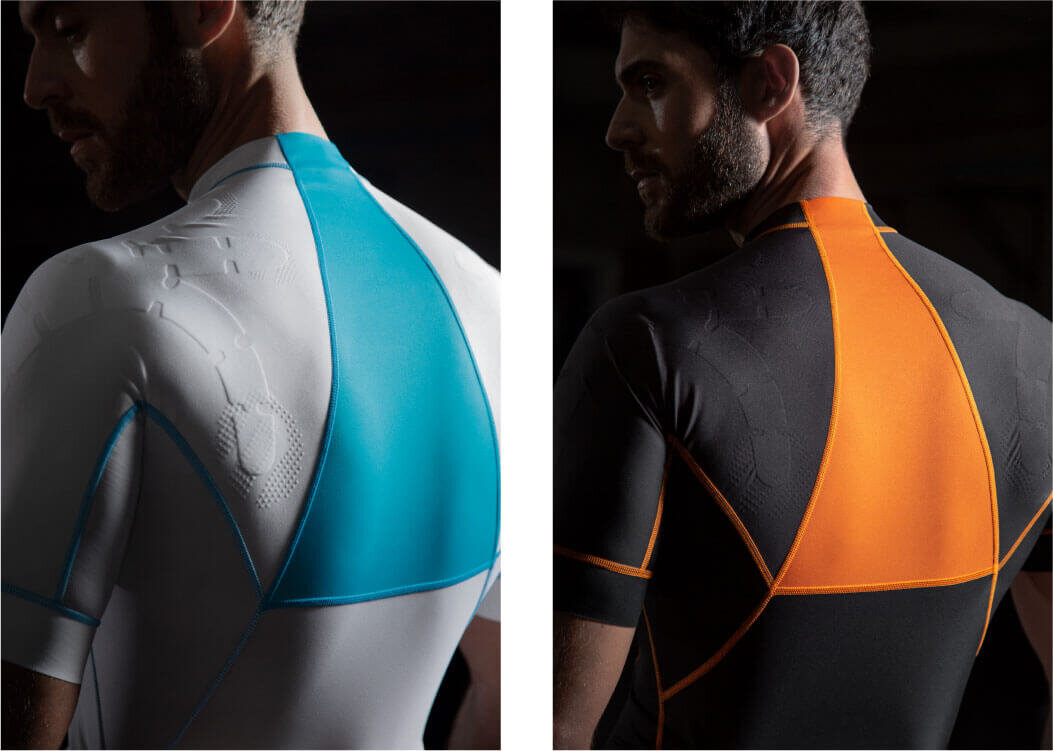 Exosuit EXO1 sportswear interacts with the body to support and enhance proprioception
